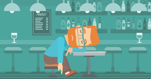 Man sleeping in bar. Premium Vector