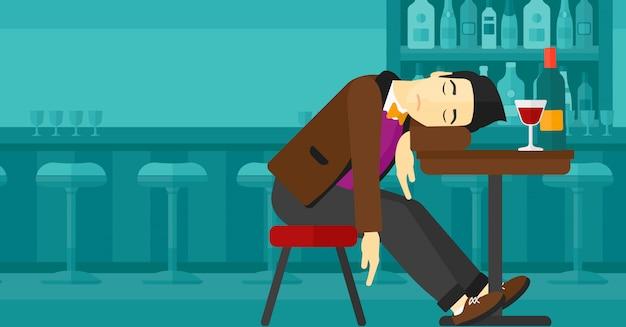 Man sleeping in bar Premium Vector