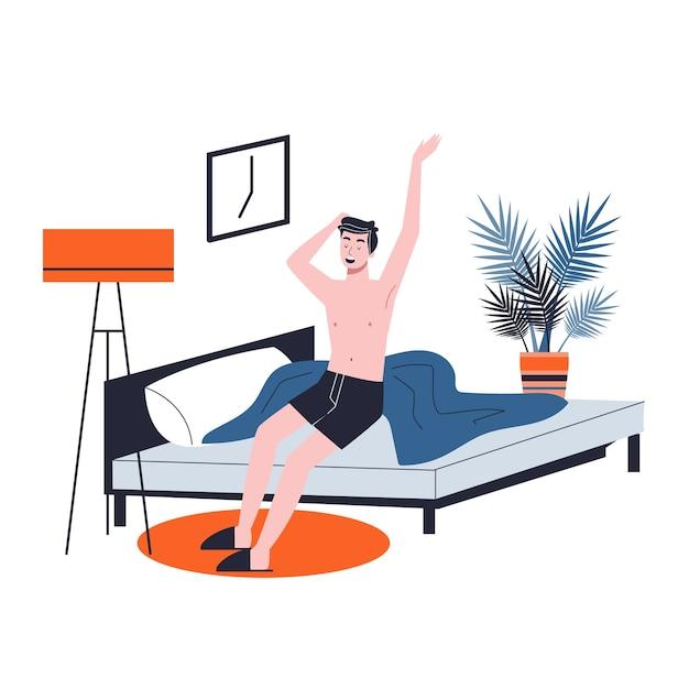 男はベッドで寝て、陽気な気分で目を覚ます。寝室で休んで朝の目覚め。漫画のスタイルのイラスト Premiumベクター