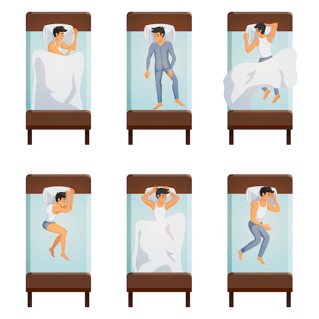 Man sleeping poses set Free Vector
