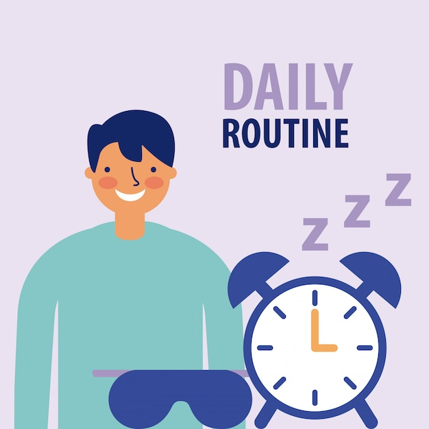 Man smiling with alarm clock, flat style Free Vector
