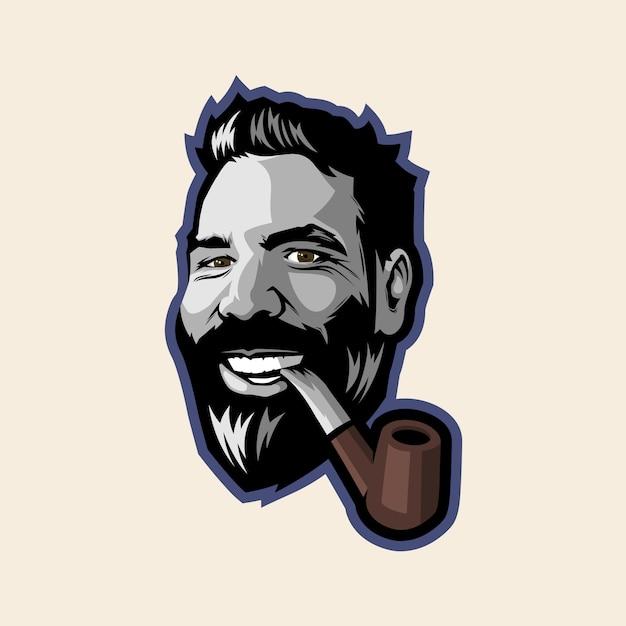 Man smoking and smiling Premium Vector