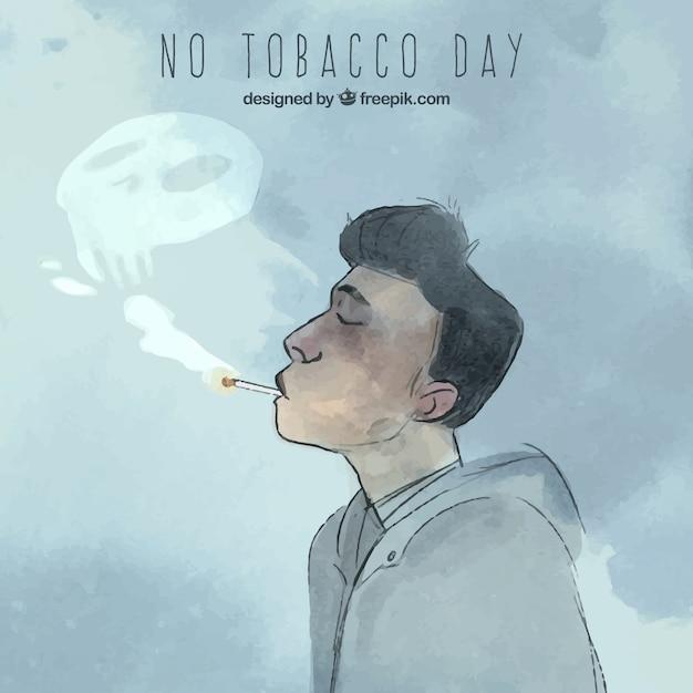 Man smoking with smoke skull Free Vector