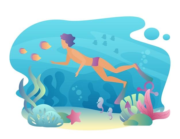 Человек с маской и трубкой плавает под водой. летний спортивный досуг. мужской дайвинг Premium векторы