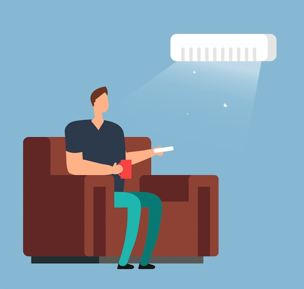 Man on sofa under air conditioning. room climate control vector concept Premium Vector