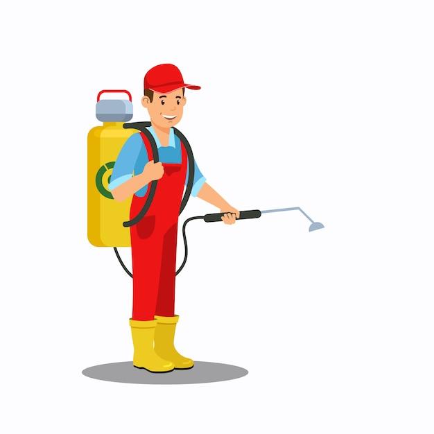 Man spraying fertilizer color vector illustration Premium Vector