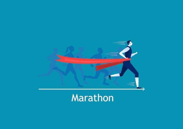 Man sprint running to win on blue Premium Vector