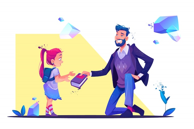 Man stand on one knee giving book to little girl Free Vector
