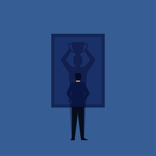 Man stand and see winner shadow on frame Premium Vector