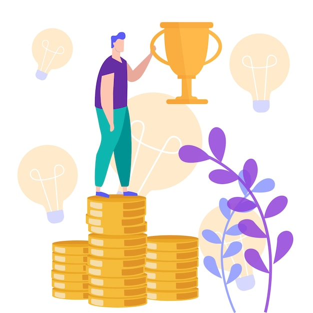 Man stand on stack coin with champion cup in hand. Premium Vector