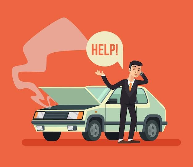 壊れた車の近くに立って、呼び出し、フラット漫画イラスト Premiumベクター