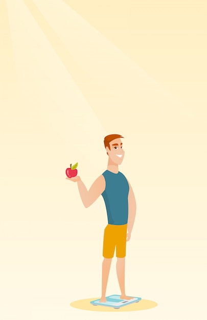 Man standing on scale and holding apple in hand. Premium Vector