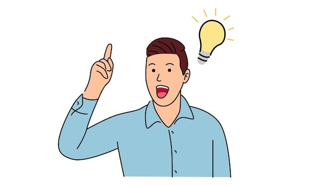 男立って考えるアイデアを得る Premiumベクター
