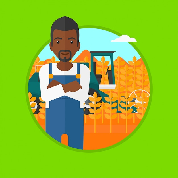 Man standing with combine Premium Vector