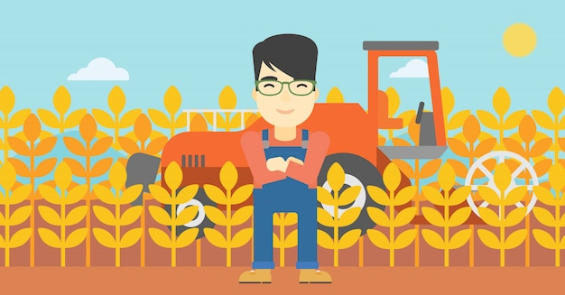 Man standing with combine Premium Vector