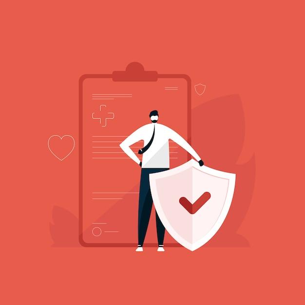 Человек, стоящий с щитом для иллюстрации здравоохранения и защиты, концепция медицинского страхования, полис страхования Premium векторы
