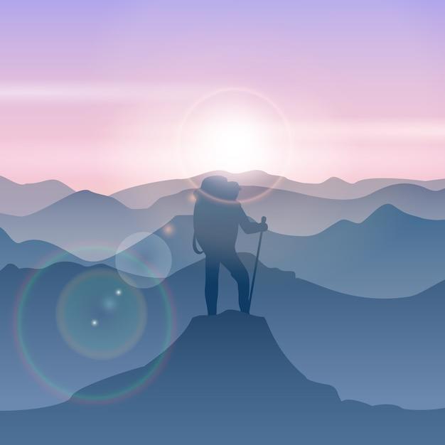 男は山頂に立っています。ベクトル山旅行男のイラスト。ピークハイキング山、山頂、男立ちイラスト 無料ベクター