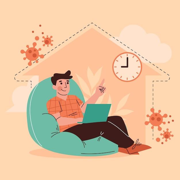 Мужчина сидит дома во время комендантского часа из-за коронавируса Бесплатные векторы