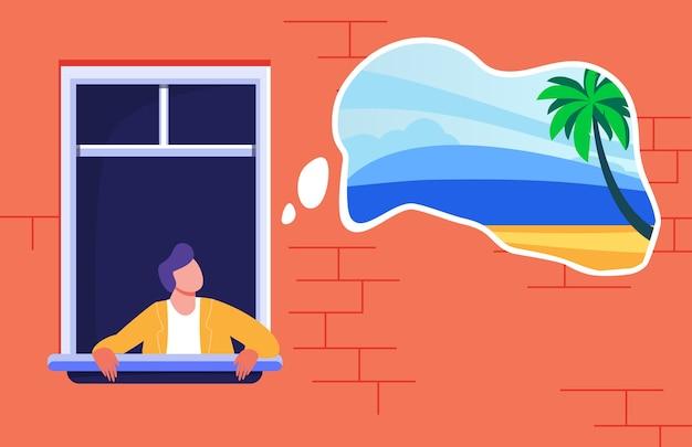 Uomo che resta a casa e sogna una vacanza tropicale. palme e spiaggia nell'illustrazione piana di vettore della bolla di pensiero. blocco, divieto di viaggio Vettore gratuito
