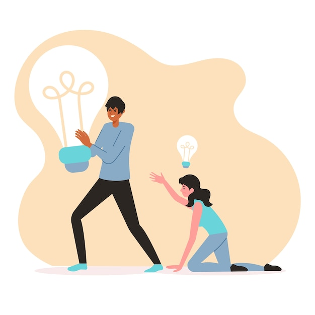 Man stealing ideas from a woman Free Vector