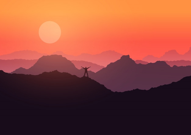 Man stood on mountain landscape at sunset  Free Vector