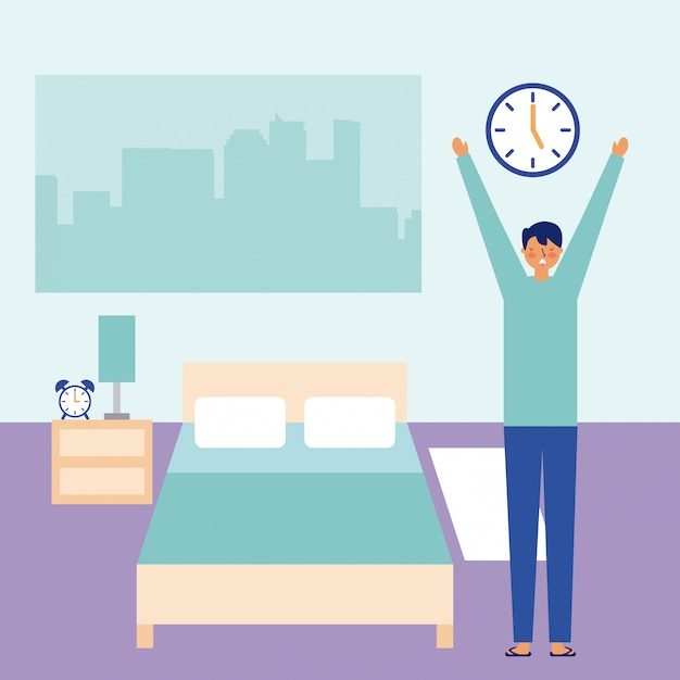 Man stretching waking up in the room Free Vector