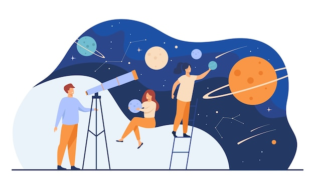 Man studying galaxy through telescope. women holding planets models, watching meteors and constellation of stars. flat vector illustration for horoscope, astronomy, discovery, astrology concepts Free Vector