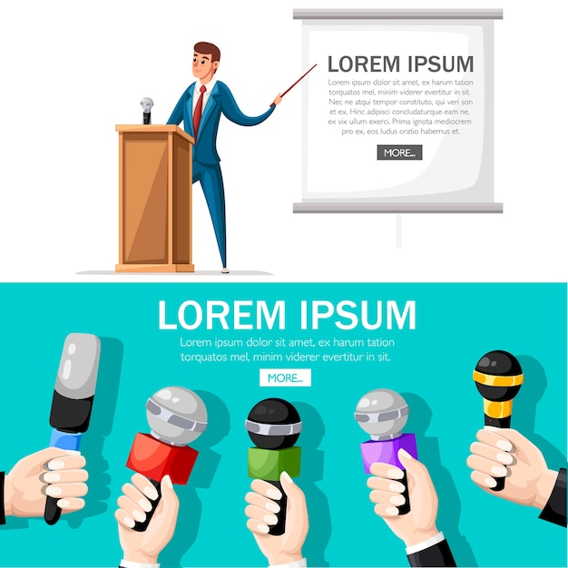 Man in suit stands at wooden tribune with microphone. making a presentation with speech.  character .   illustration on white background. web site page and mobile app . Premium Vector