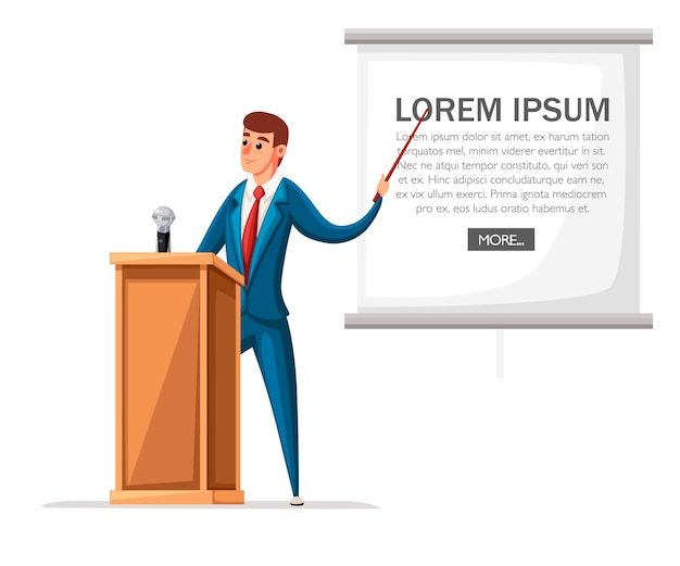 Man in suit stands at wooden tribune with microphone. making a speech.  character .   illustration  on white background. Premium Vector