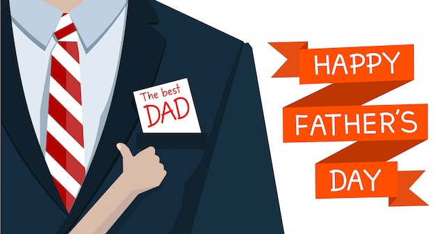 Man on suits and hand child like to paper the best dad Premium Vector