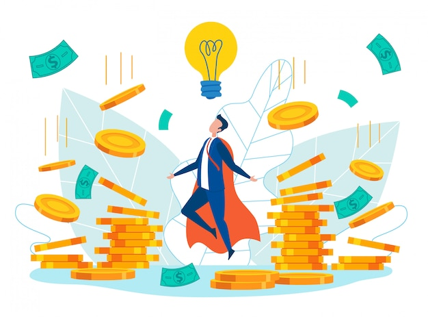 Man in superhero costume creating business ideas Premium Vector