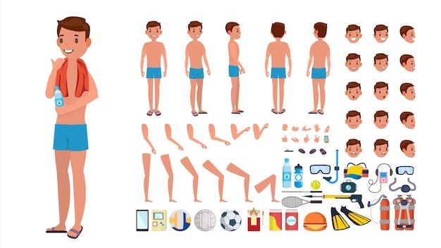 Man in swimsuit vector. animated male character in swimming trunks. summer beach creation set. full length, front, side, back view. poses, face emotions, gestures. isolated flat cartoon Premium Vector