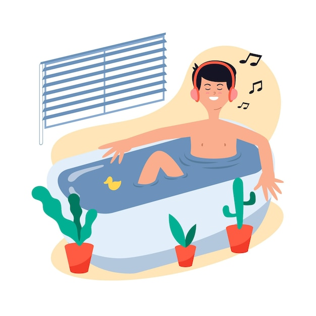 Человек принимает ванну и слушает музыку Бесплатные векторы