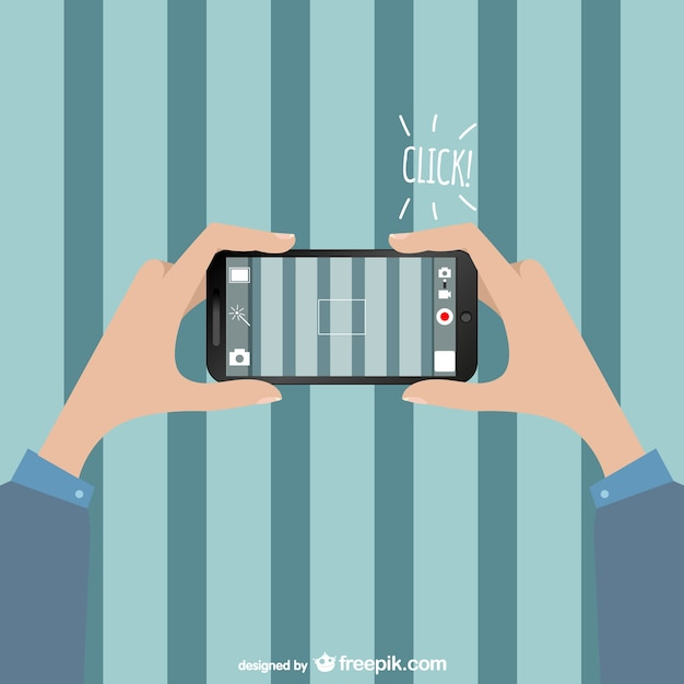 Man taking a picture with his smartphone Free Vector