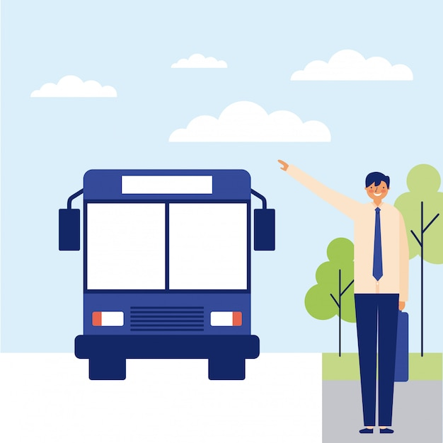 Man taking the bus to work Free Vector