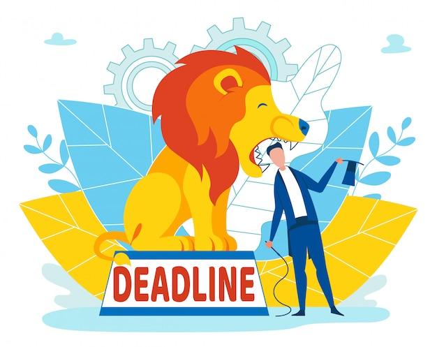 Man taking risks with deadline inscription cartoon Premium Vector