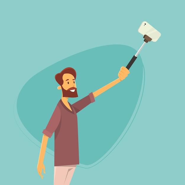 Man taking selfie photo on smart phone with stick Premium Vector