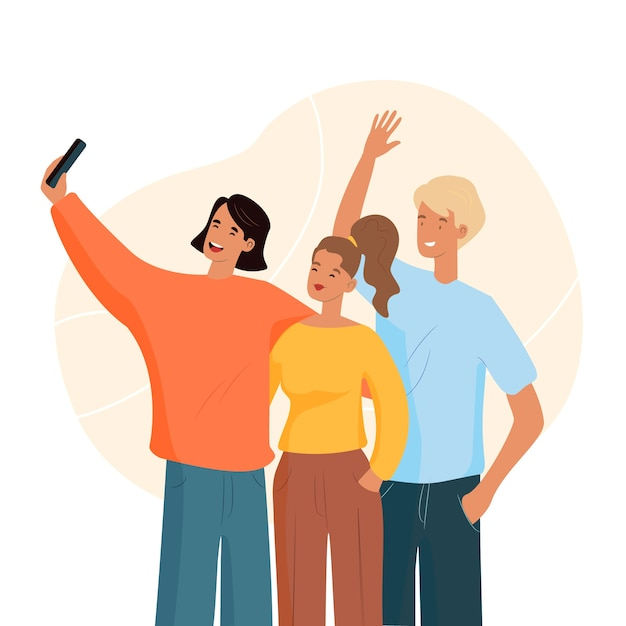 Man taking a selfie with friends Free Vector