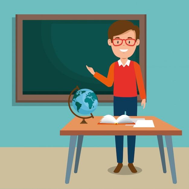 Man teacher in the classroom Free Vector