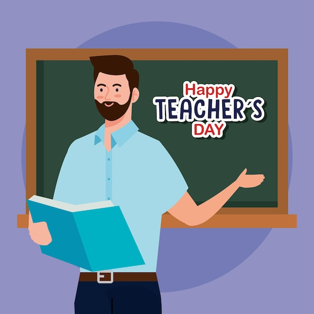 Man teacher with book and green board design, happy teachers day celebration and education theme Premium Vector
