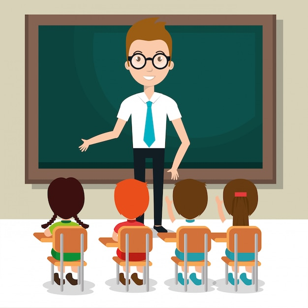 Man teacher with students in the classroom Free Vector