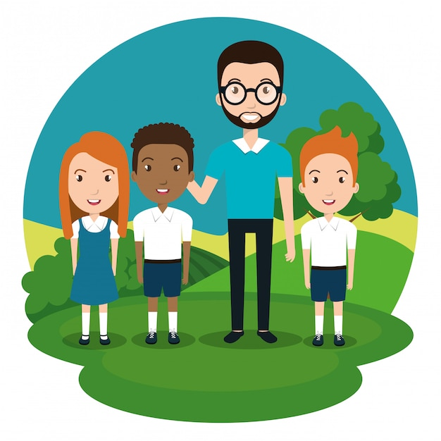 Man teacher with students in the park Free Vector