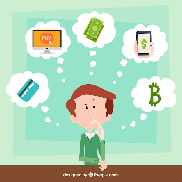 Man thinking about payment methods Free Vector