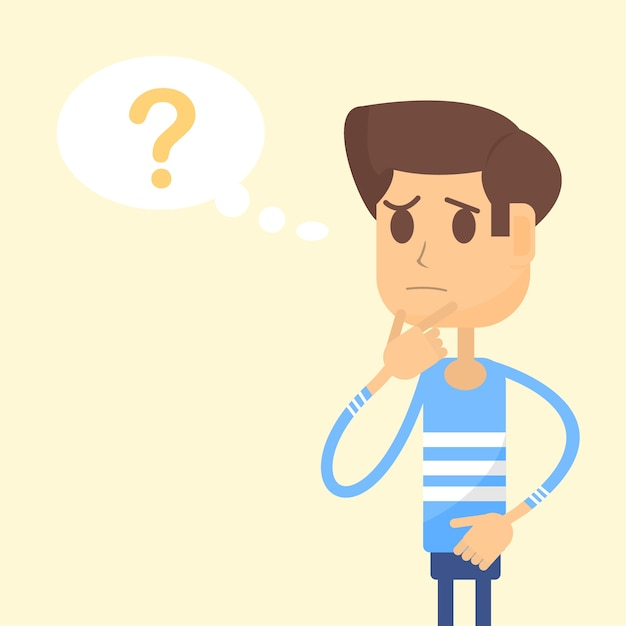 Man thinks and there is a question mark in speech bubble Premium Vector