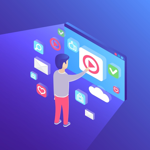 Man touching big screen isometric illustration Free Vector
