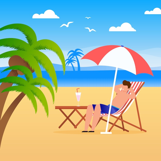 Man tourist relaxing along on beach . Premium Vector