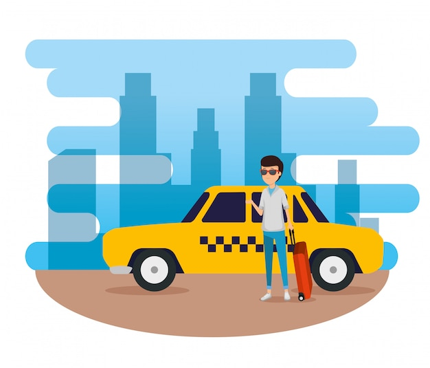 Man tourist with suitcase and taxi car Free Vector