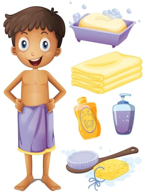 Man in towel and bathroom set illustration Free Vector