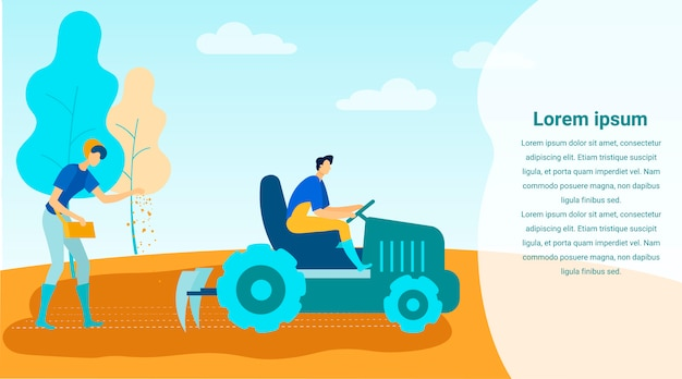 Man on tractor cultivates land woman sows seeds Premium Vector
