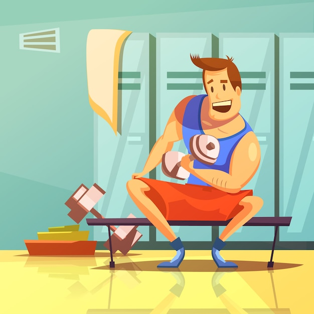 Man training arm muscles with dumbbells in a gym cartoon Free Vector